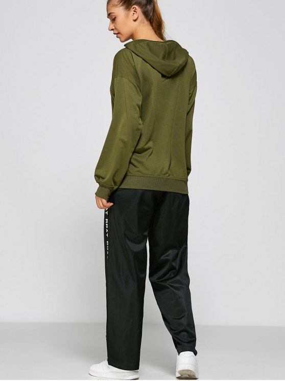Casual Loose Hoodie - ARMY GREEN L Mobile
