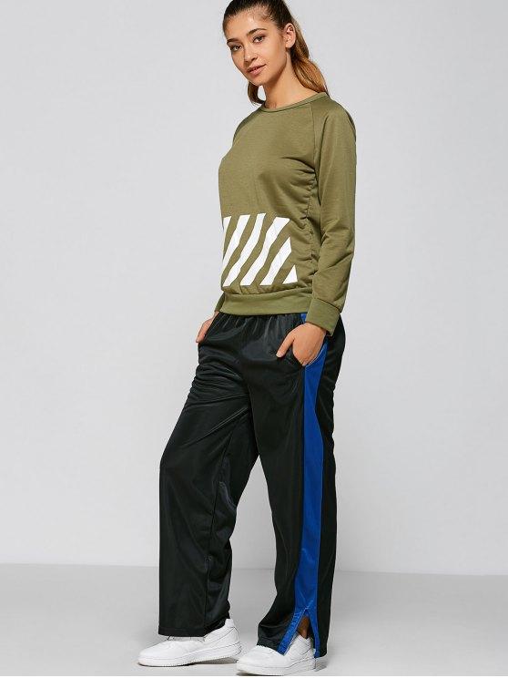 online Color Block Slit Sports Pants - BLACK L