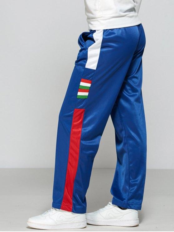 Color Block Elastic Waist Track Pants - BLUE L Mobile