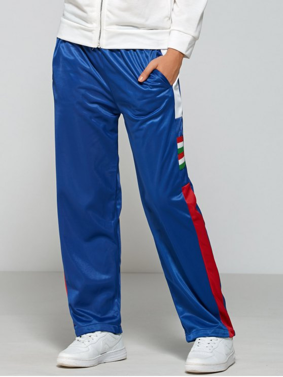 women's Color Block Elastic Waist Track Pants - BLUE L