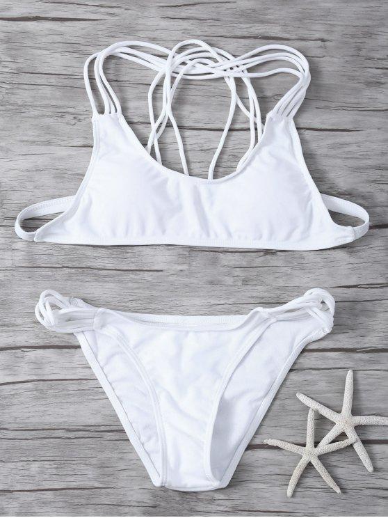 Padded Strappy Bikini - WHITE M Mobile