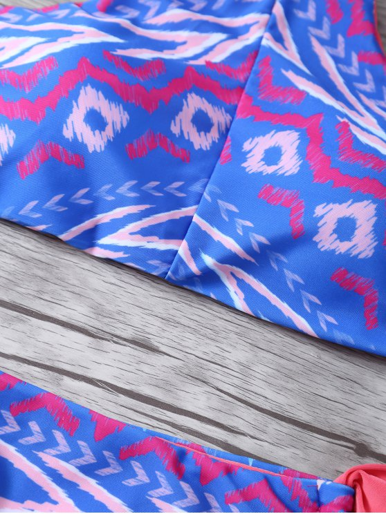 Halter Printed Reversible Bikini - BLUE L Mobile