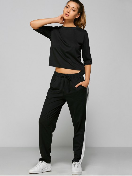 Drawstring Pants with Color Block Top - BLACK M Mobile