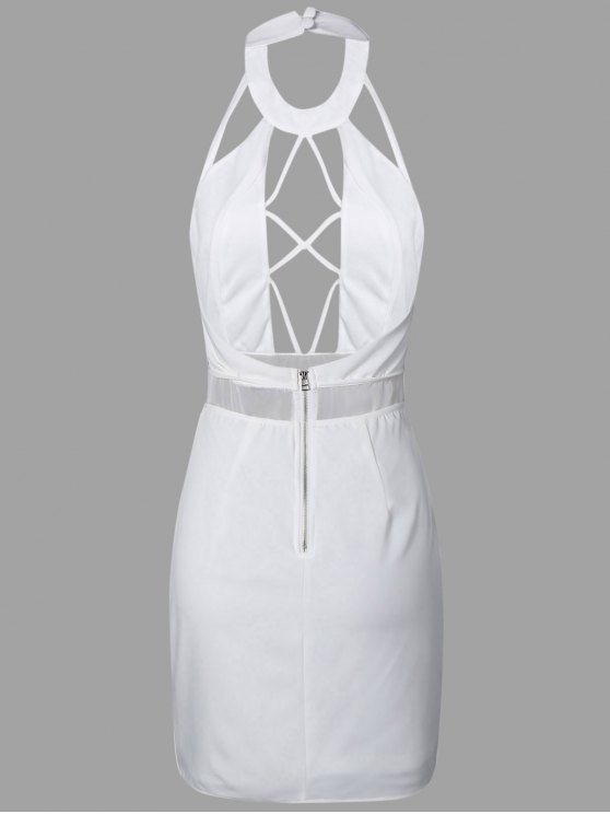 Backless Cut Out Bodycon Dress - WHITE L Mobile