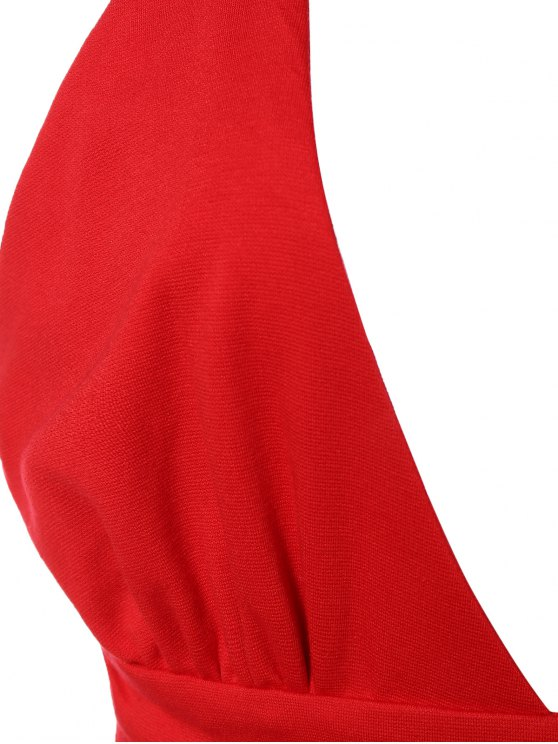 Asymmetric Plunging Neck Bodycon Party Dress - RED S Mobile
