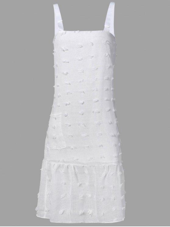 outfit Stereo Flower Midi Straps Dress - WHITE L