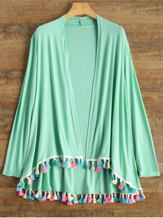 online Colorful Fringes Cardigan - LAKE GREEN L