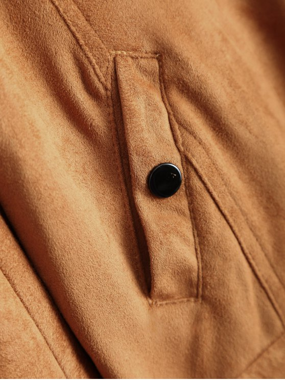 Suede Tassels Jacket - BROWN XL Mobile