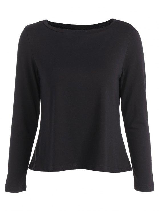 women Lace Spliced T-Shirt - BLACK S