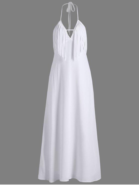 Vestido de noche sin espalda halter maxi con fleco - Blanco M