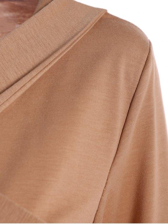 Criss-Cross Cropped T-Shirt - KHAKI L Mobile