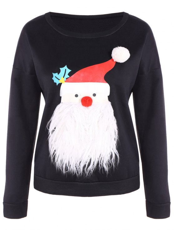 Fleece Christmas Sweatshirt - BLACK M Mobile