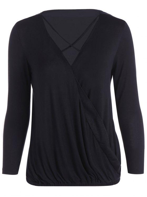 women Strappy V Neck Surplice T-Shirt - BLACK M