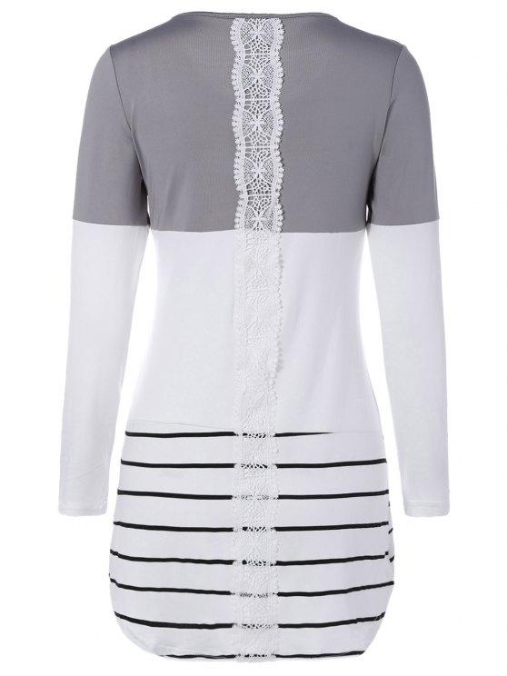trendy Long Color Block T-Shirt - GRAY M
