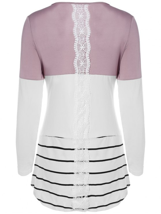fancy Long Color Block T-Shirt - KHAKI L