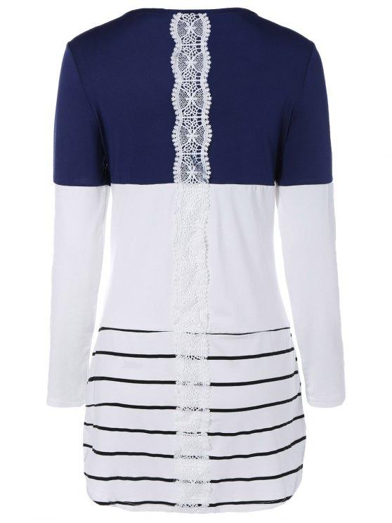 women Long Color Block T-Shirt - BLUE S