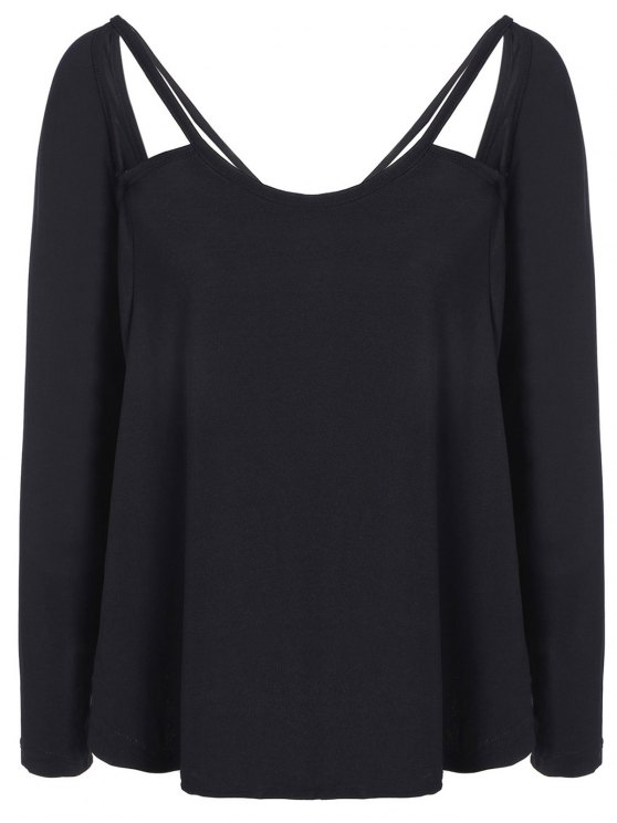 online Casual Cut Out T-Shirt - BLACK S