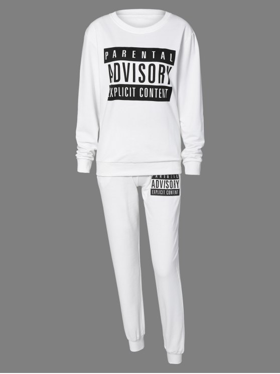 new Letter Sweatshirt and Drawstring Sports Pants - WHITE S