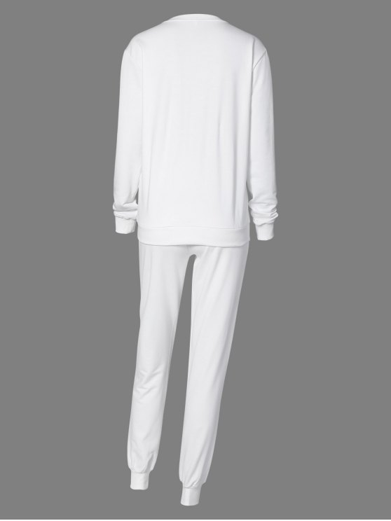 Letter Sweatshirt and Drawstring Sports Pants - WHITE M Mobile