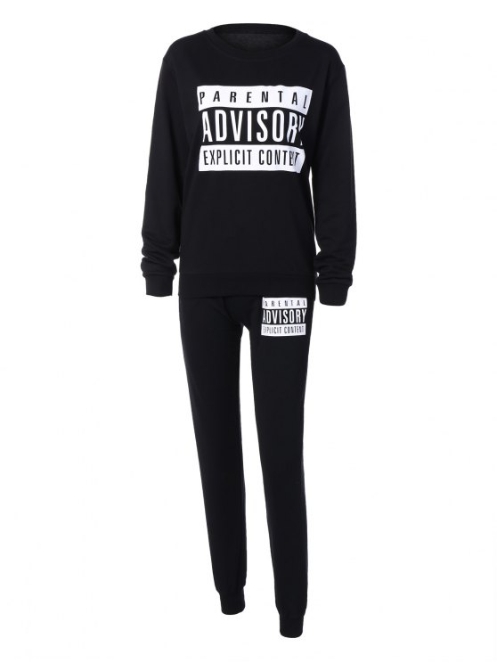 Letter Sweatshirt and Drawstring Sports Pants - BLACK L Mobile
