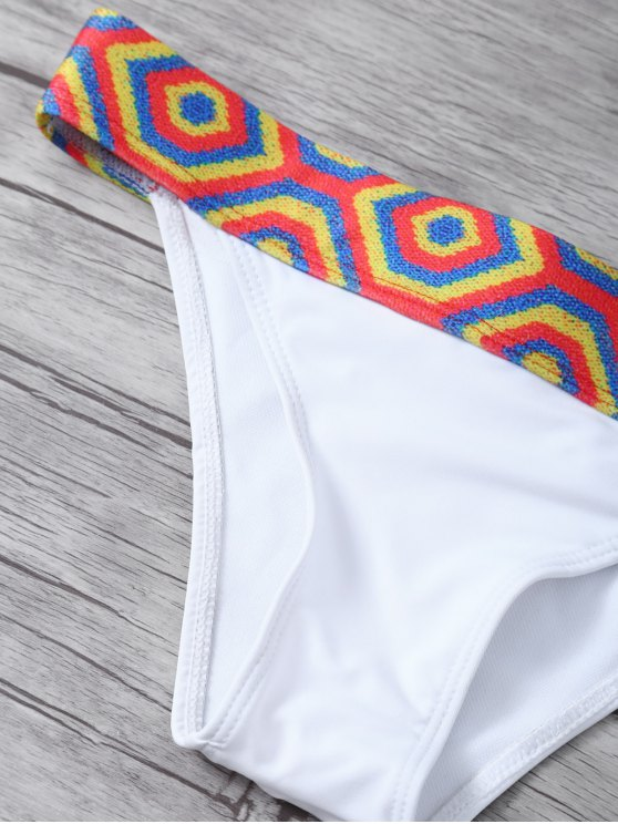 Straps Tribal Print Bikini - WHITE M Mobile