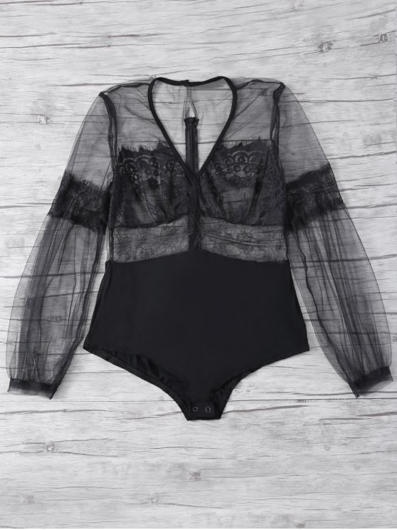 Lanterne Sleeve Mesh Lace Bodysuit - Noir XL