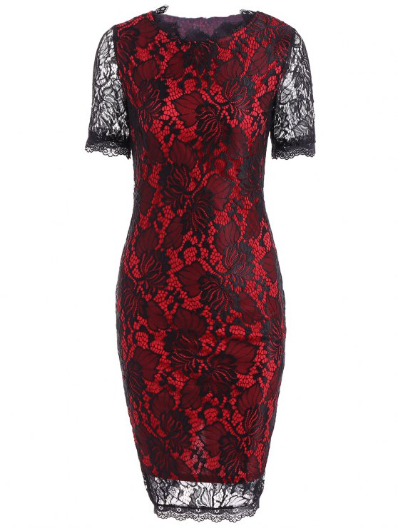 latest Color Block Openwork Lace Hook Pencil Dress - RED M