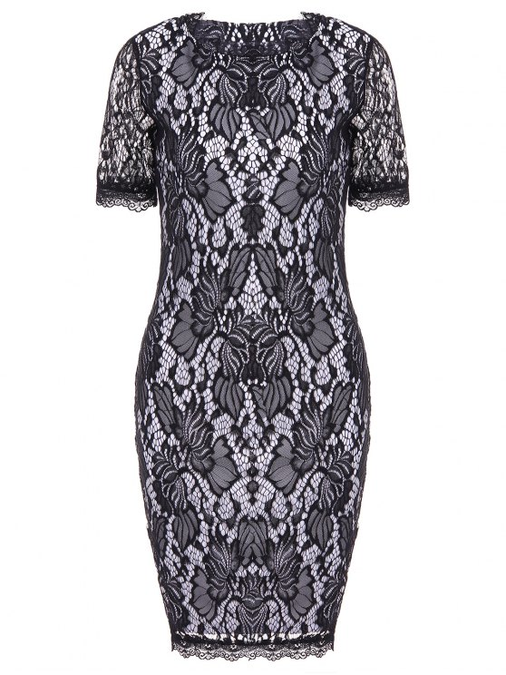 affordable Lace Hook Patch Pencil Dress with Sleeves - BLACK 2XL