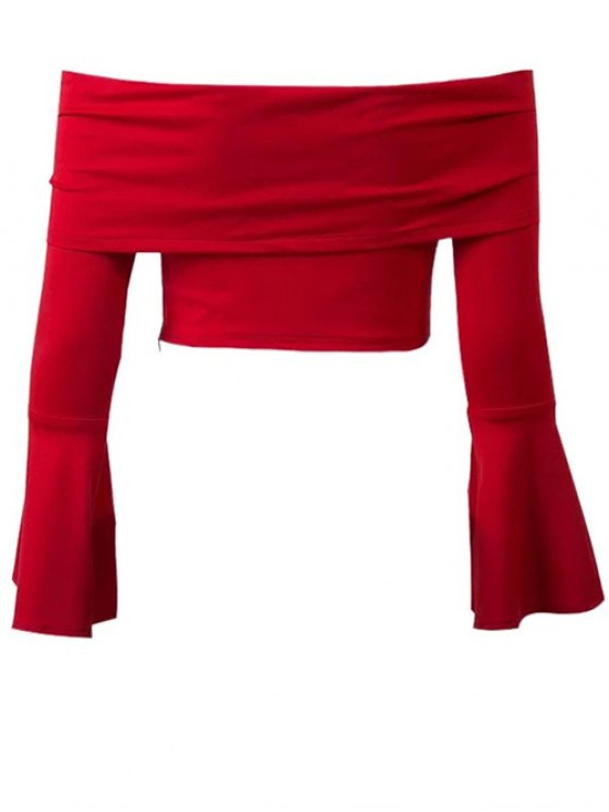 Manches cloche Off The Shoulder Crop Top - Rouge L