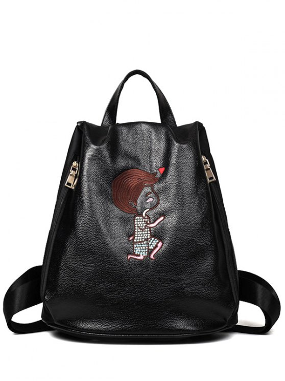 chic Embroidery Zippers PU Leather Backpack - BLACK