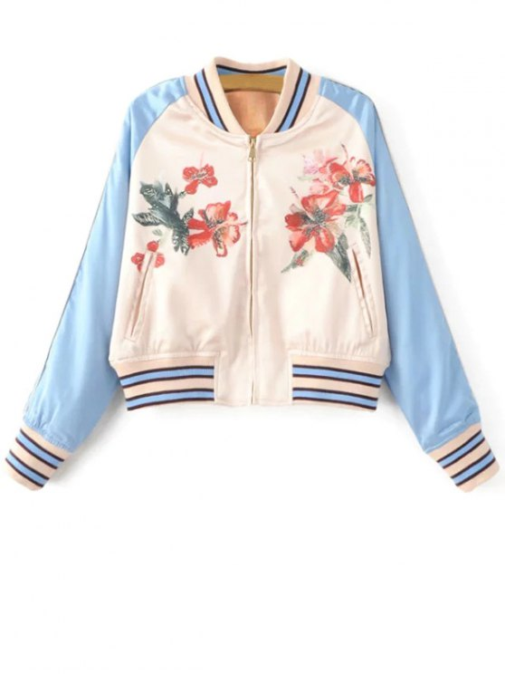 best Floral Print Baseball Jacket - BLUE AND WHITE S
