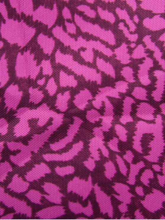 Print Zippers Color Spliced Backpack - VIOLET ROSE  Mobile