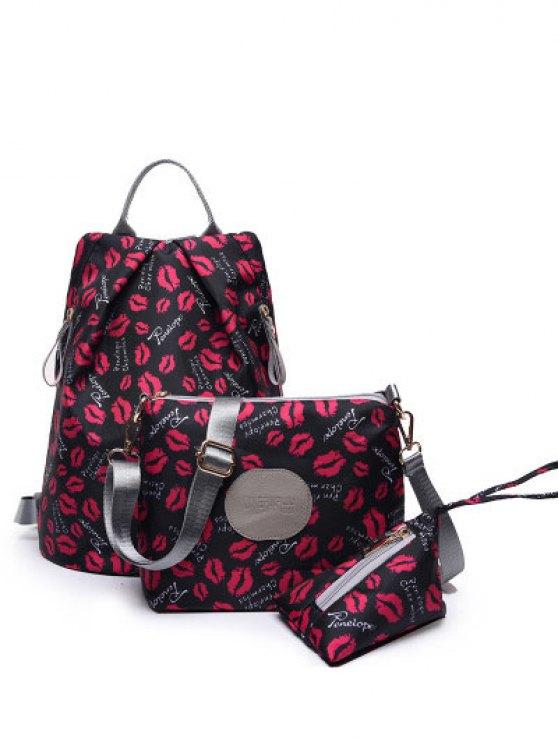 sale Print Zippers Color Spliced Backpack - BLACK