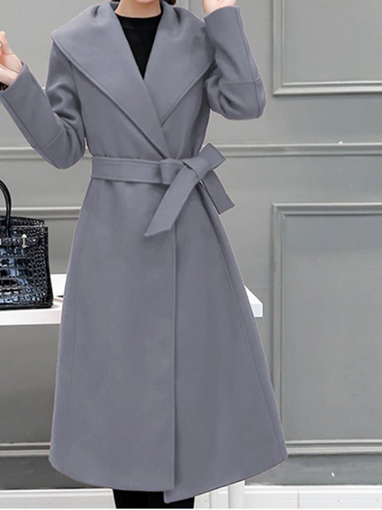 sale Wool Blend Maxi Shawl Collar Belted Coat - GRAY 2XL