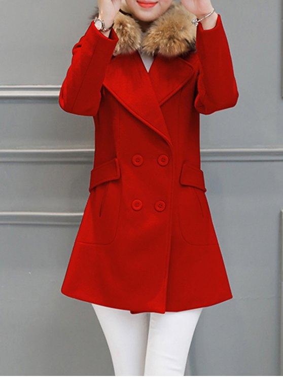 Fur Collar Walker Peacoat - RED M Mobile