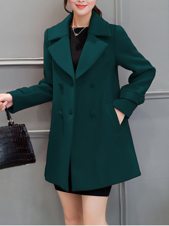 Lapel Collar Swing Peacoat - BLACKISH GREEN XL Mobile