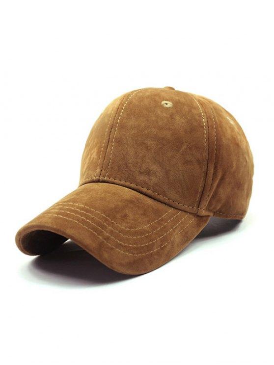ladies Adjustable Buckle Faux Suede Baseball Hat - GINGER