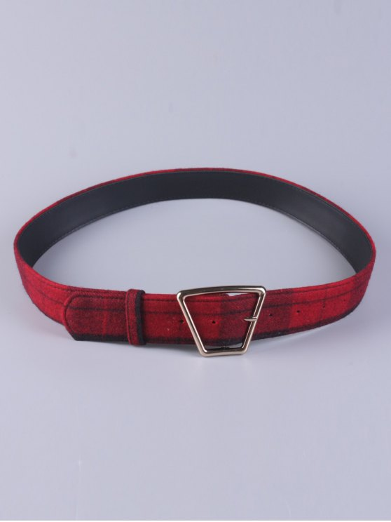 affordable Plaid Trapezoid Buckle Belt - RED