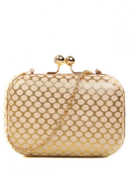 online Polka Dot Metal Liss Lock Evening Bag - GOLDEN