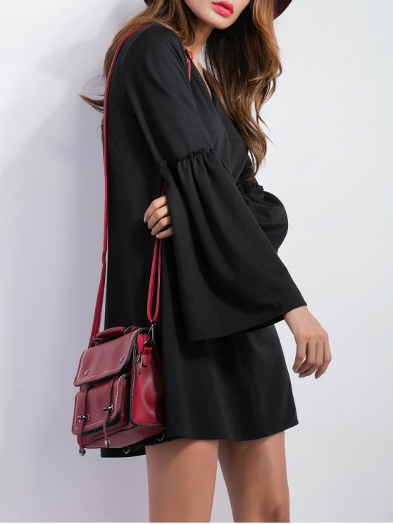 V Neck Bell Sleeve Shift Mini Dress - BLACK M Mobile