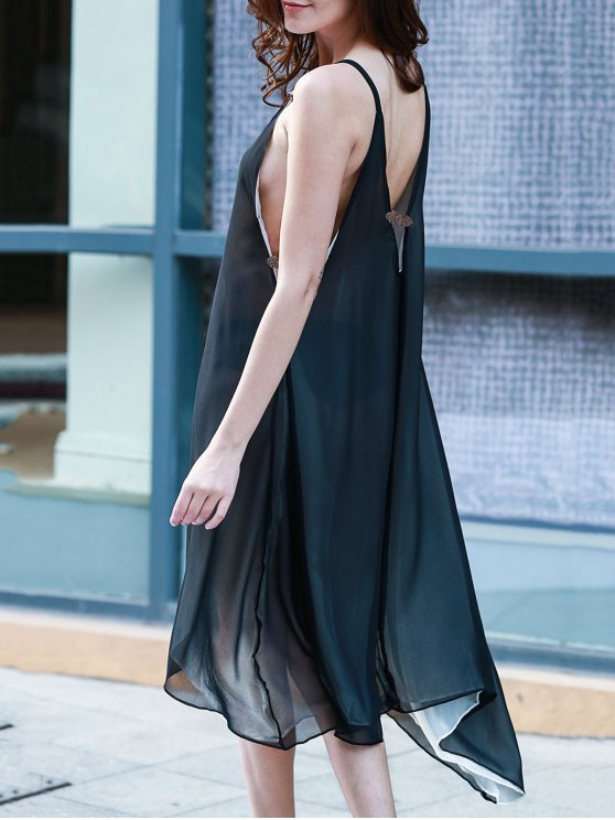 chic High Low Irregular Hem Spaghetti Straps Dress - BLACK XL