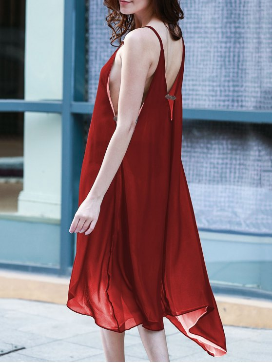 unique High Low Irregular Hem Spaghetti Straps Dress - WINE RED M