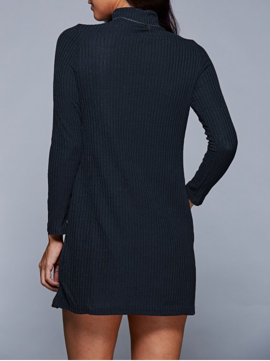 Long Sleeve A Line Sweater Dress - PURPLISH BLUE S Mobile