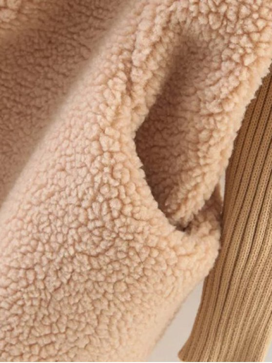 Hooded Fluffy Fleece Coat With Knit Sleeve - KHAKI ONE SIZE Mobile