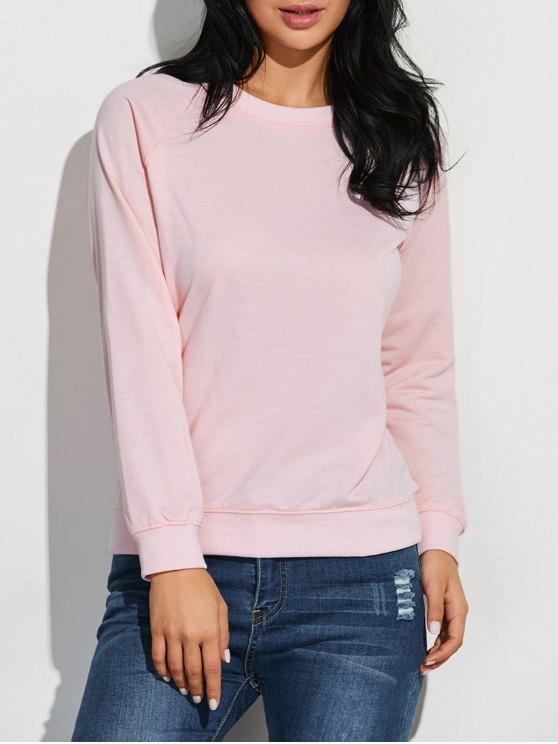 trendy Raglan Sleeve Basic Sweatshirt - PINK L