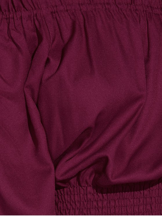 Off Shoulder Flared Sleeve Blouson Top - WINE RED M Mobile