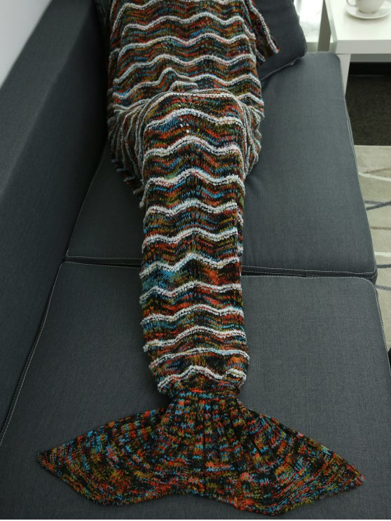 Stripe Knitted Sofa Sleeping Bag Mermaid Blanket -   Mobile