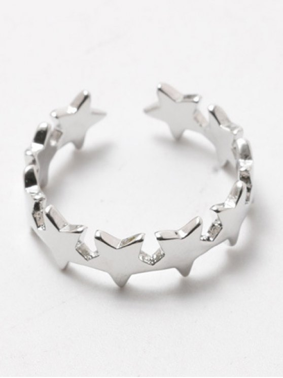 Polished Star Cuff Ring - SILVER WHITE  Mobile