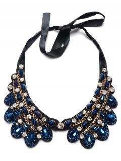 Faux Sapphire Water Drop Rhinestone Necklace - Blue