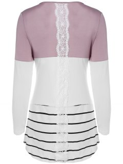 Long Color Block T-Shirt - Khaki L